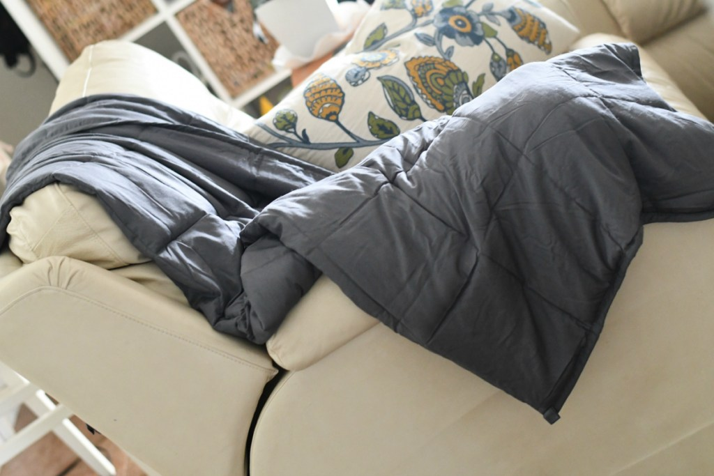 Grey Weighted Blanket on Chair