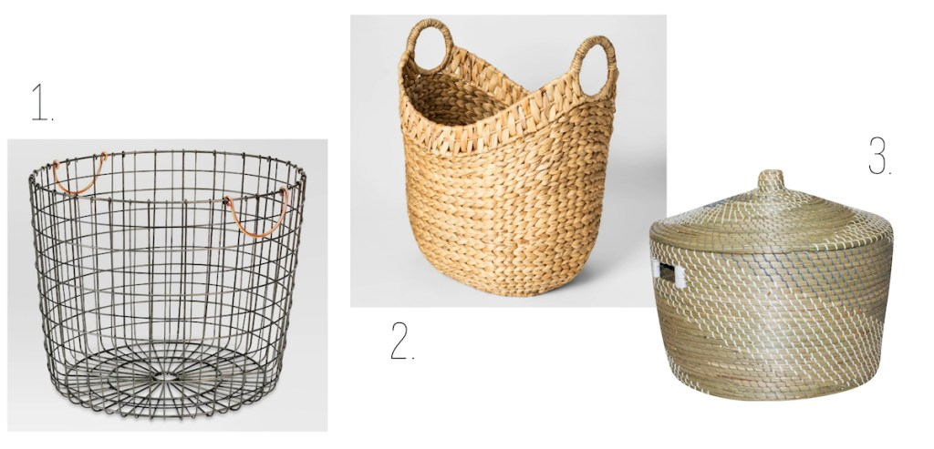 target large wire wicker woven baskets with lid pewter copper handles metal bin