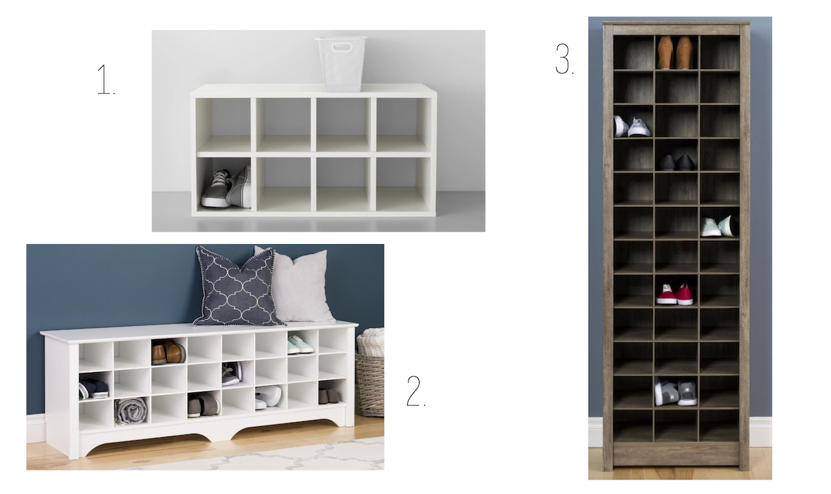 target wood, white, brown cubbies & cubby organization for the mudroom