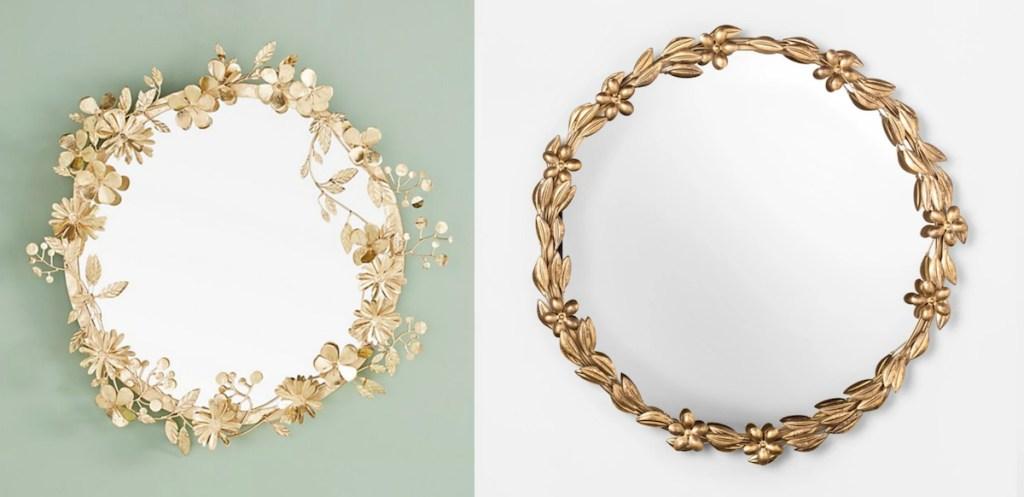 anthropologie target opalhouse gold round leaf flower floral mirrors vintage
