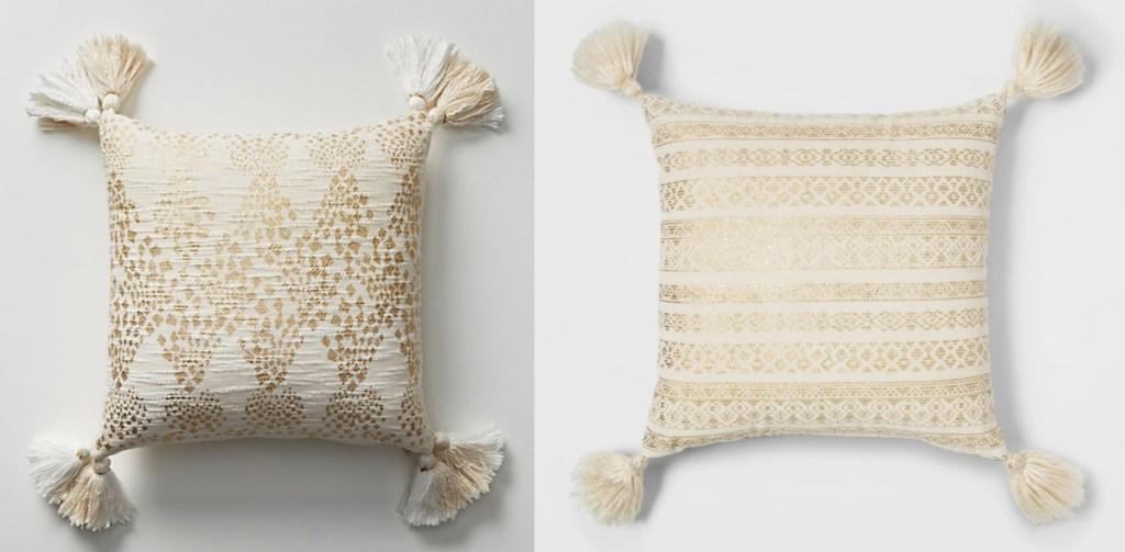 anthropologie target gold cream ivory metallic throw pillows