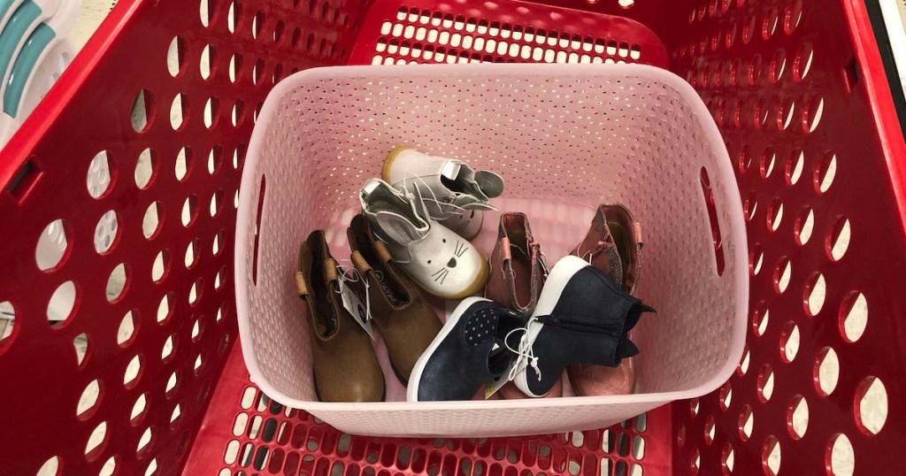 target cart pink basket bin with kids girls toddler shoes