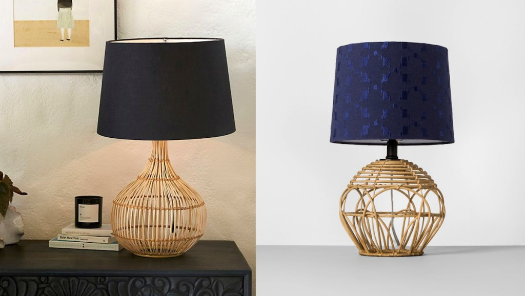 anthropologie target rattan navy blue table lamps
