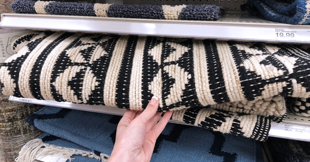 target accent pieces — black and white accent rug