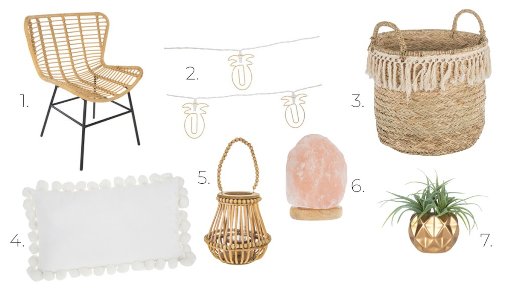 bohemian room decor rattan chair pineapple string lights basket pom pillow plant pink salt candle holder