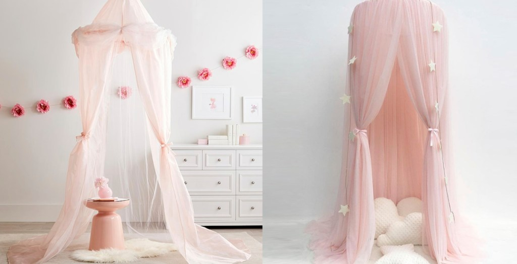 two pink canopies in gray white playrooms with white dresser in background