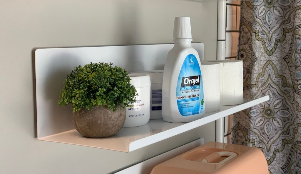 close up photo of white metal wall shelf with green plant and mouthwash