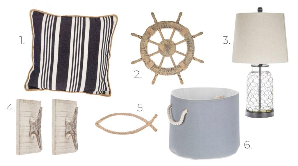 coastal design board navy stripe pillow wood boat wheel glass lamp wall hooks rope fish blue basket