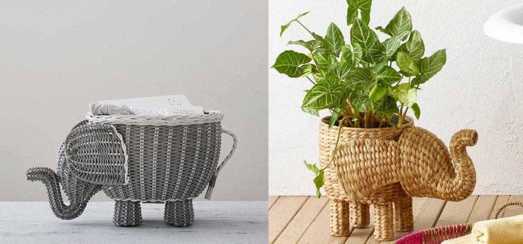 gray elephant basket next to natural colored one with plant inside