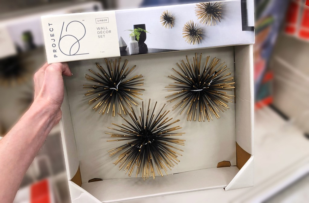 target wall decor — sea urchun black and gold star burst wall accents
