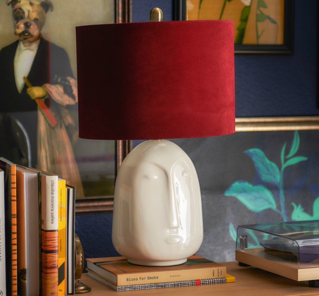 The Forgotten Era Ceramic Face Lamp with Venetian Wine Velvet Shade