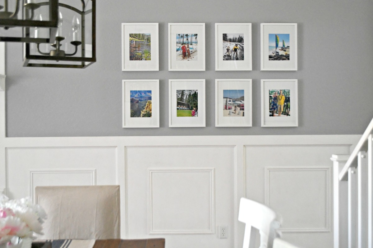 how to hang a grid style gallery wall using the same picture frame in a grid