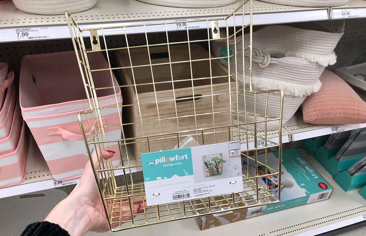 grown up Pillowfort items — gold wire wall hanging storage basket
