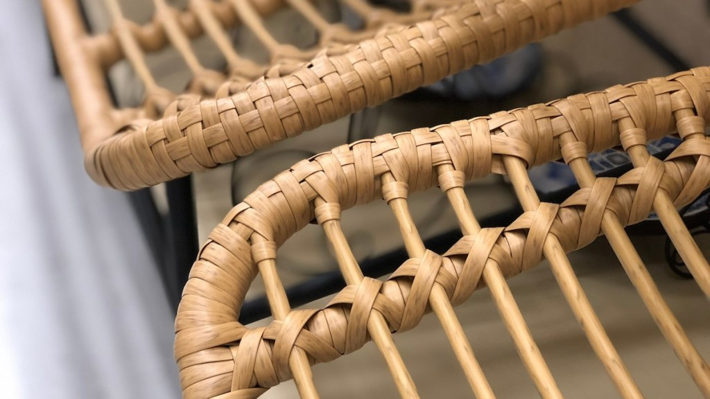 close up detailed photo of natural colored rattan chairs