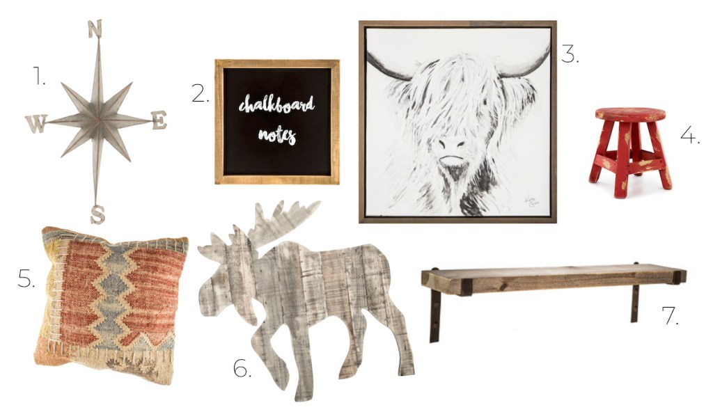 rustic room design board compass chalkboard bull print red stool pillow moose wood plank shelf