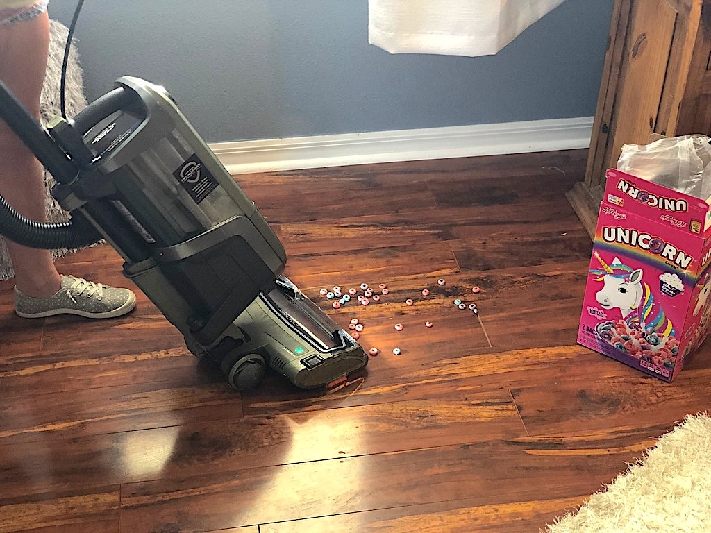 Vacuuming up cereal