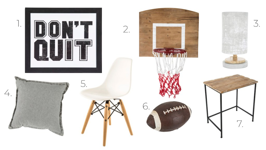 sports design board don't quit print basketball hoop whtie chair football gray pillow