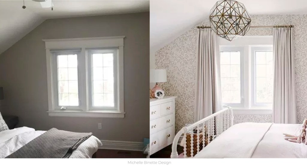 before and after of dark room with one window next to white room with curtains