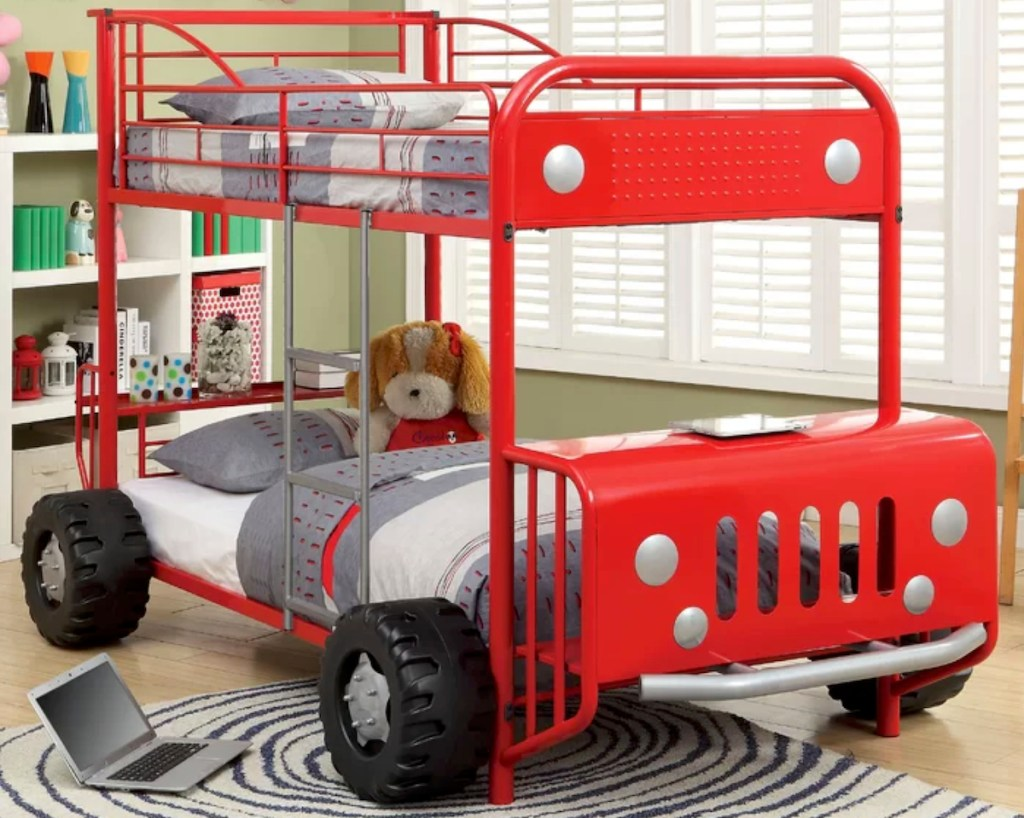 kids red truck shaped metal bunk bed