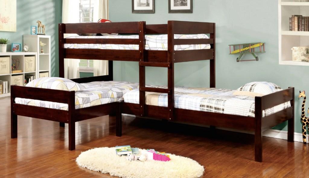 espresso colored wood triple bunk beds