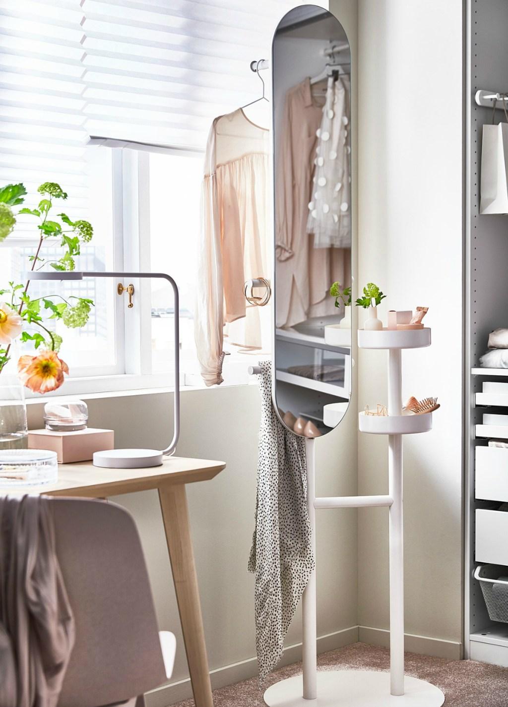 IKEA LIERSKOGEN Valet Stand with Mirror in bedroom
