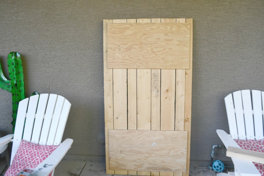 backside view of wood board wall hanging