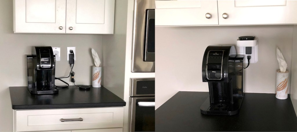 messy kitchen counter vs. organized coffee area with outlet shelf