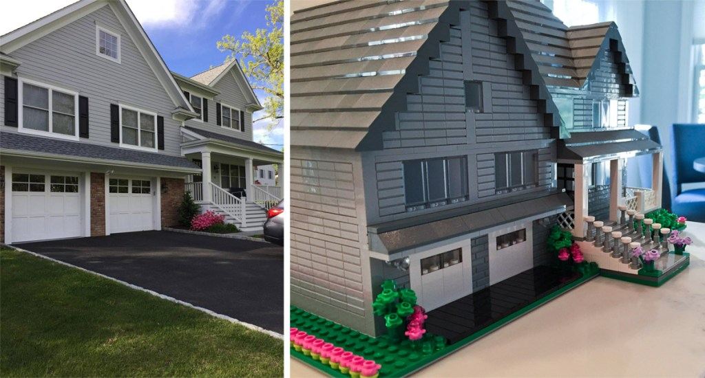 side-by-side comparison of real home and a model made from LEGO