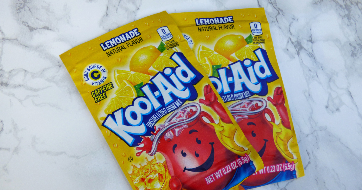 two kool-aid drink packets on a countertop