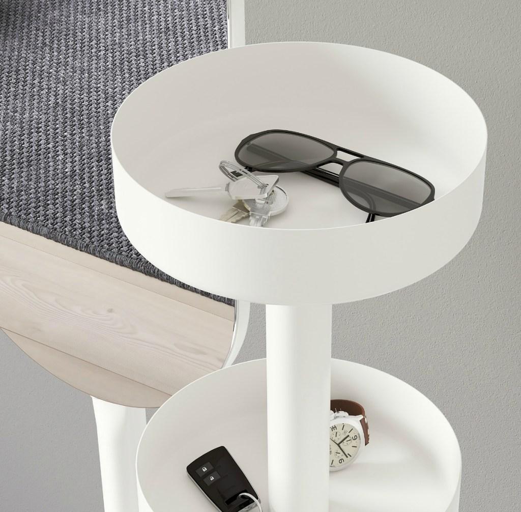storage trays on IKEA LIERSKOGEN Valet Stand with Mirror