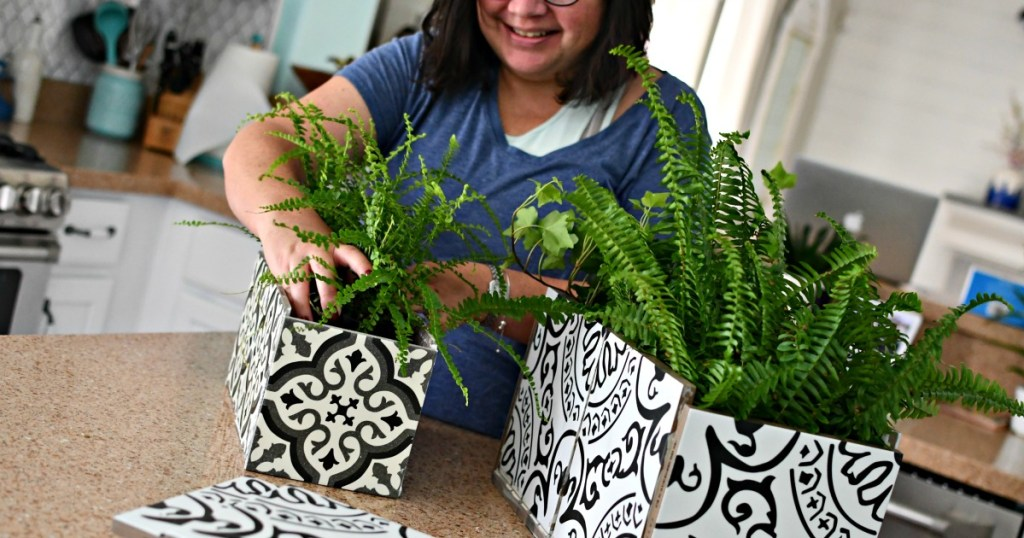 Lina making diy planters from ceramic tiles