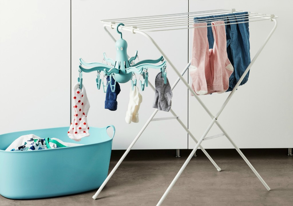 Clip and Drip Hanger in laundry room
