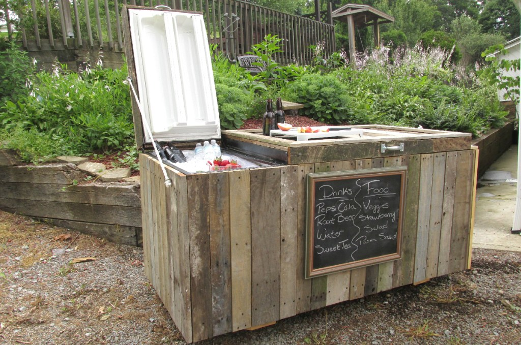 DIY backyard fridge cooler in yard