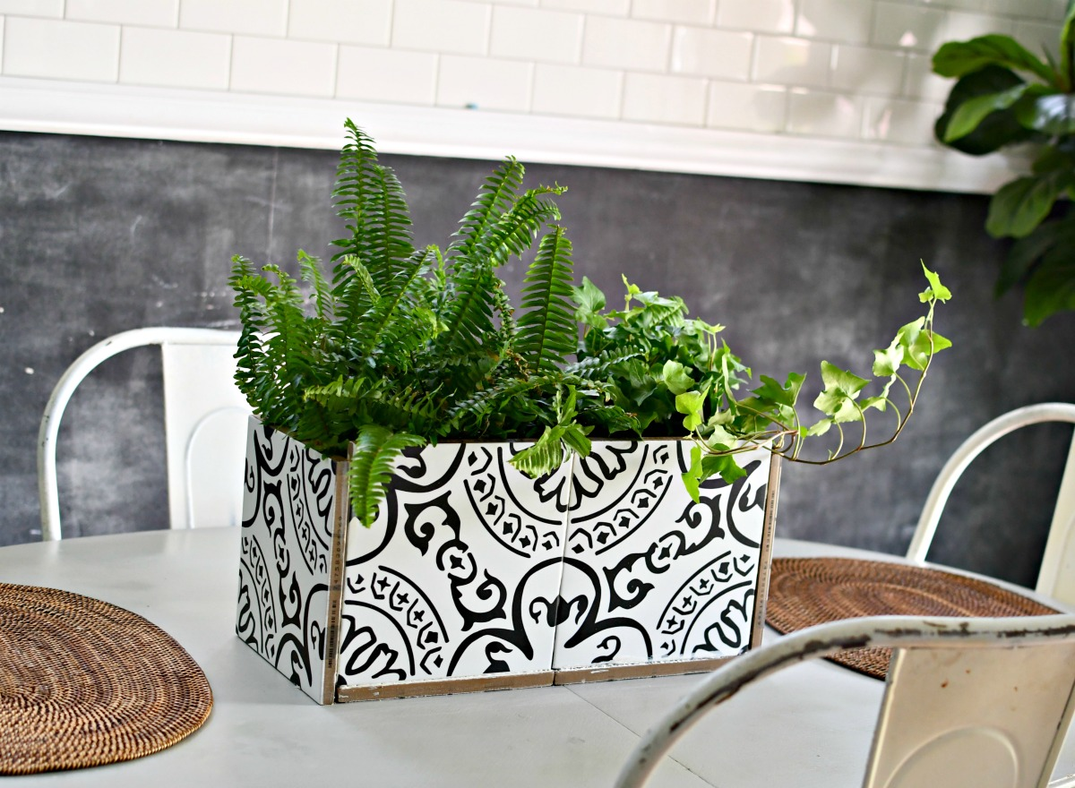 easy diy planter with decorative tiles on a dining room table