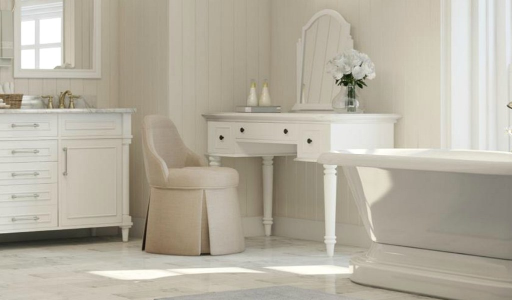 brown vanity stool in bathroom