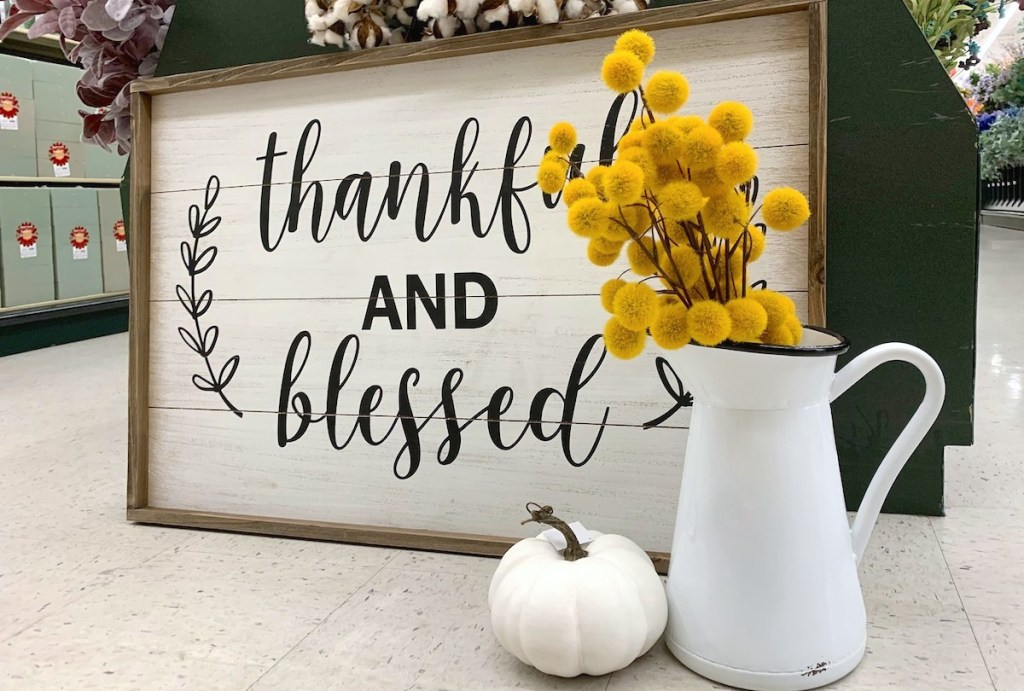 thankful and blessed wood frame white pumpkin and pitcher with florals