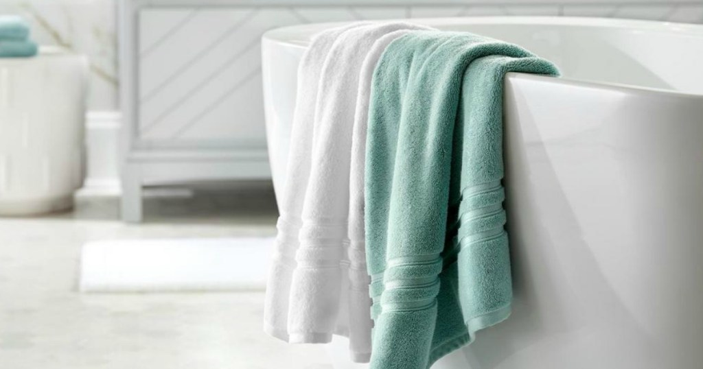 Home Decorators Collection towels over bath tub