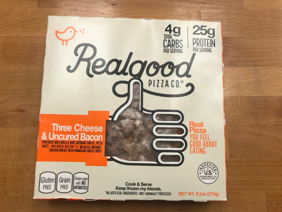 Want a deal on realgood foods? – Front of pizza box