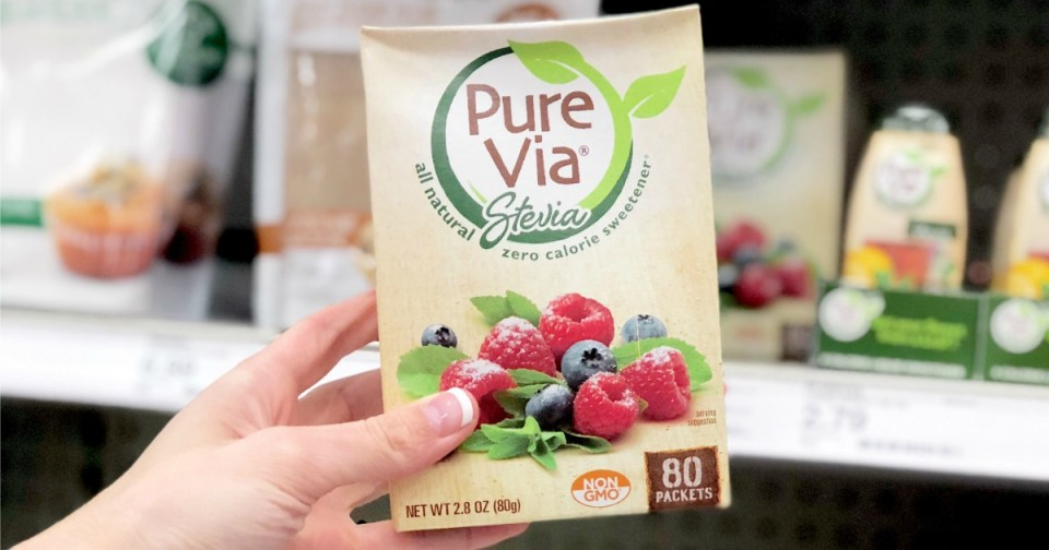 deal pure via stevia sweetener target - packets of sweetener in a box
