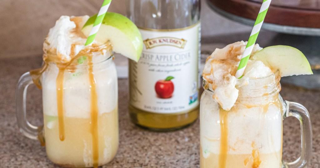 mason jar mugs with Apple Cider Floats