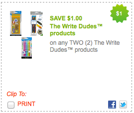 Rare 12 The Write Dudes Printable Coupon Great School Supply