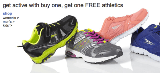 9689416000cf Head on over to Kmart.com where they are currently offering up a Buy 1 Get 1  FREE sale on select athletic Shoes! Just click on the Women s