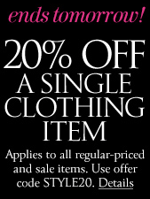 f1e173a275 Plus, through tomorrow, March 24th, snag an additional 20% off ANY one  clothing item and sale clothing items are included! Just use offer code  STYLE20 at ...