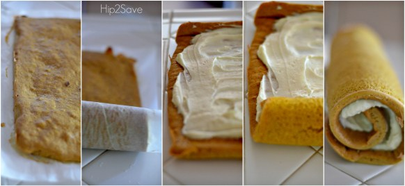 How to frost a pumpkin roll with cream cheese for this recipe