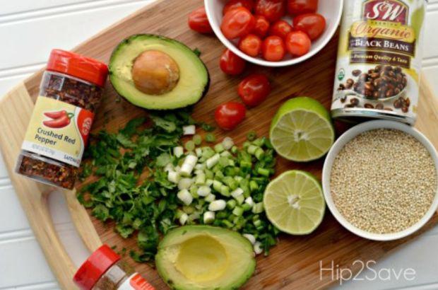 Ingedients for quinoa salad
