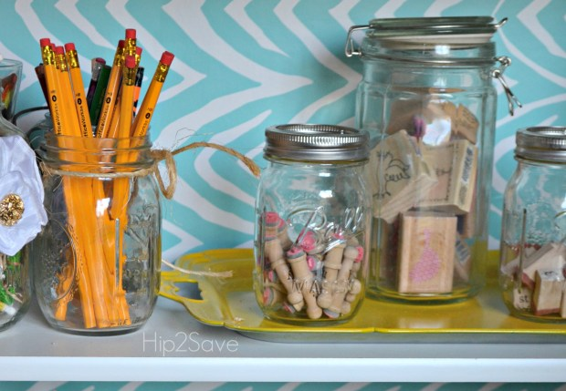 Craft supply organizing with mason jars Hip2Save