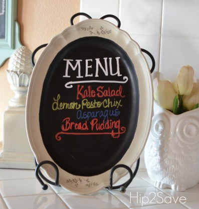 White Platter to Menu Chalkboard