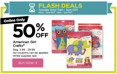 Michaels Com Flash Sale 50 Off American Girl Crafts Noon 4pm Est