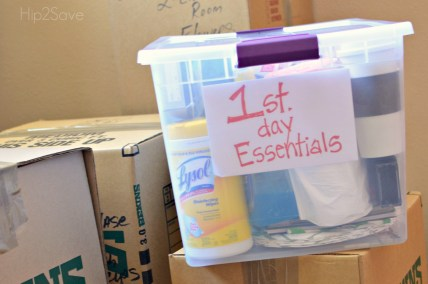 1st Day Essentials Bin for Moving Hip2Save