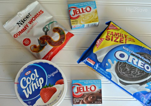 Ingredients for Oreo Dirt & Sand Cups